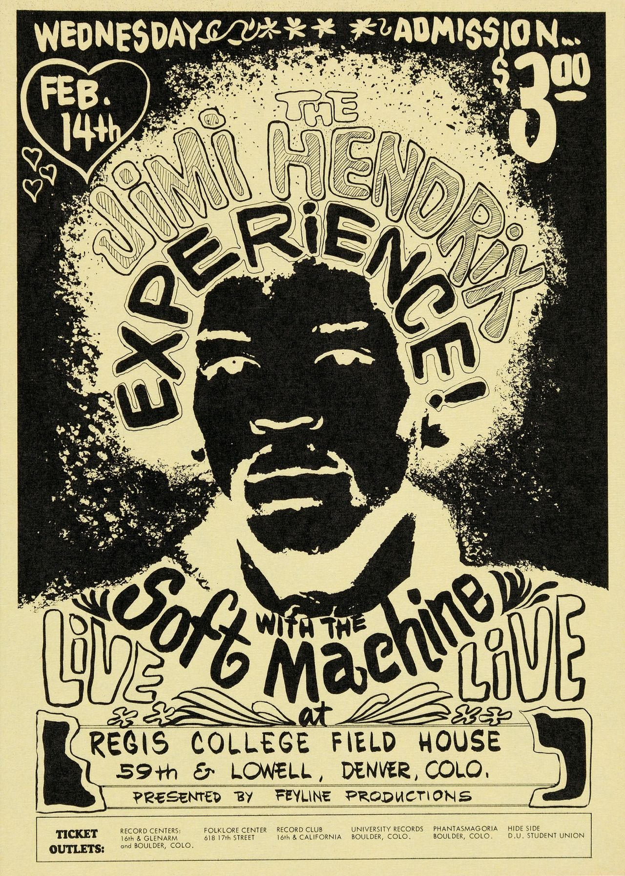 1968 JIMI HENDRIX EXPERIENCE *W-SOFT MACHINE* CONCERT POSTER *PSYCHEDELIC*