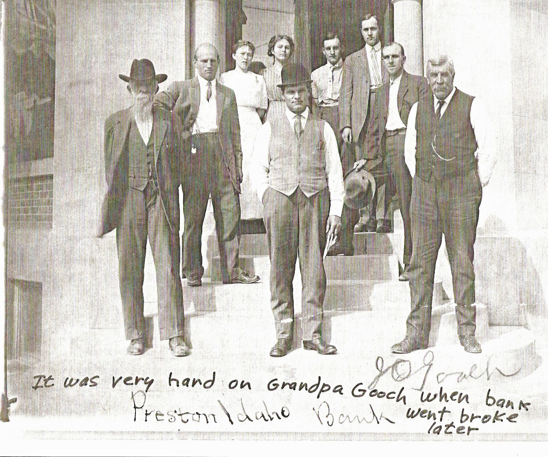 Preston Idaho Bank, John Gooch. Note from Jennie B. Brown Hollist: It was very hard on Grandpa Gooch when the bank went broke later. Publish and preserve your family history photos for free, and always available, on FamilySearch.