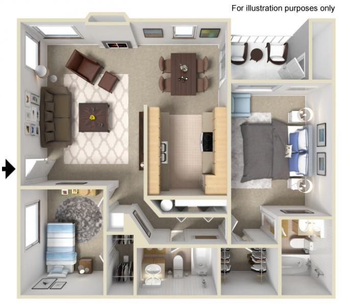 5 Ideas For A One Bedroom Apartment With Study Includes Floor Plans: 2 Bedrooms / 2 Bathrooms 900 Sq. Ft.