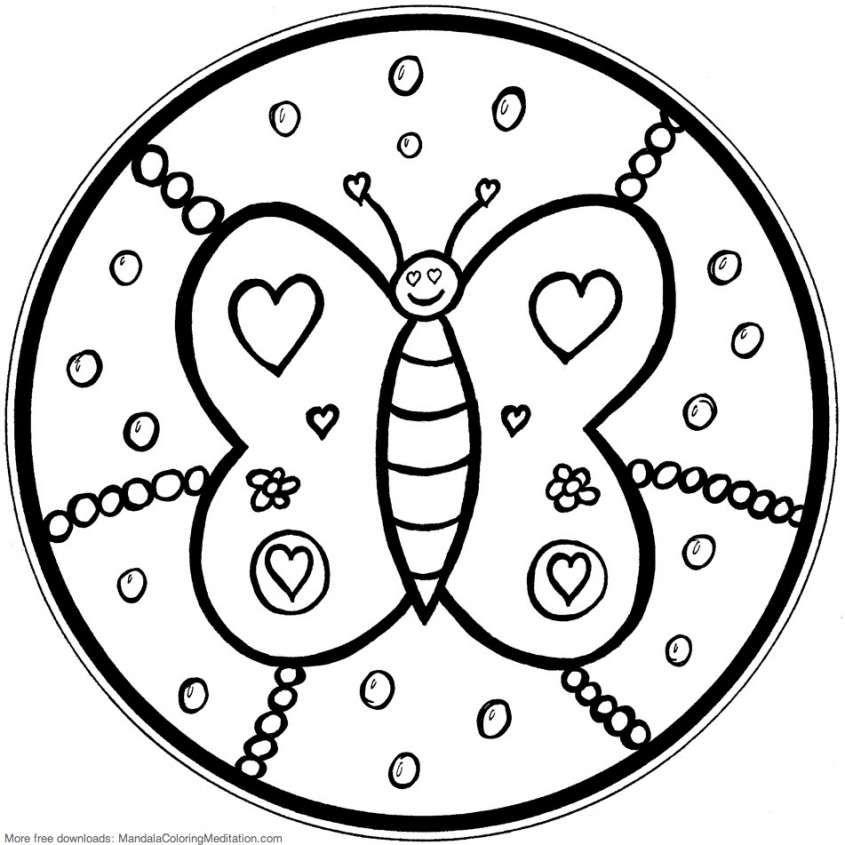 Mandala da colorare per bambini - Farfalla da colorare