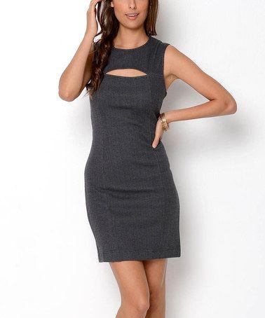 Loving this Gray Herringbone Peekaboo Organic Shift Dress
