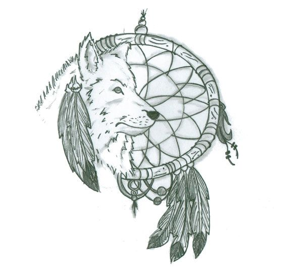 wolf dreamcatcher drawing related - photo #12