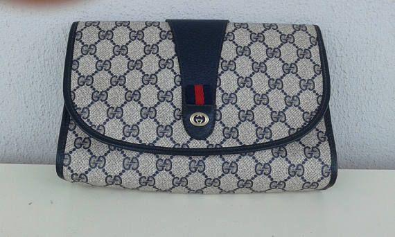 286b226f0ed77 Gucci vintage navy blue GG monogram clutch  bag purse