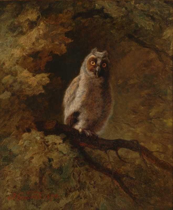 """GRUND Johann, 1808-1887 (Austria).   Eule in einer Waldlandschaft, 1870.  /  Johann GRUND. """"Owl"""", 1870, Oil on Canvas,  51.5 x 43.5 cm."""