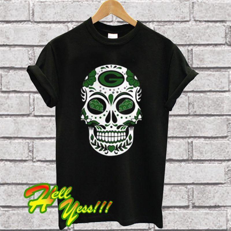 Green Bay Packers Sugar Skull With Cheese Eyes T Shirt ... 62573bd2a