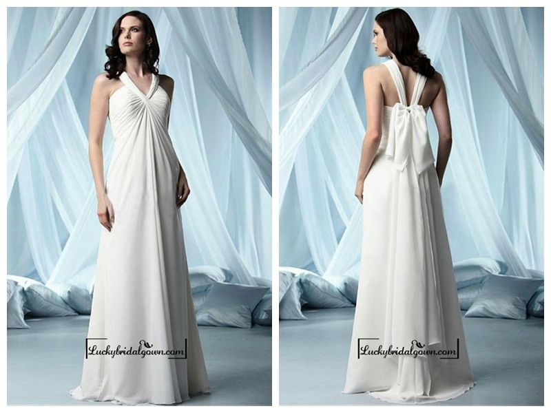 Beautiful Chiffon & Satin Empire V-neck Floor Length Wedding Dress
