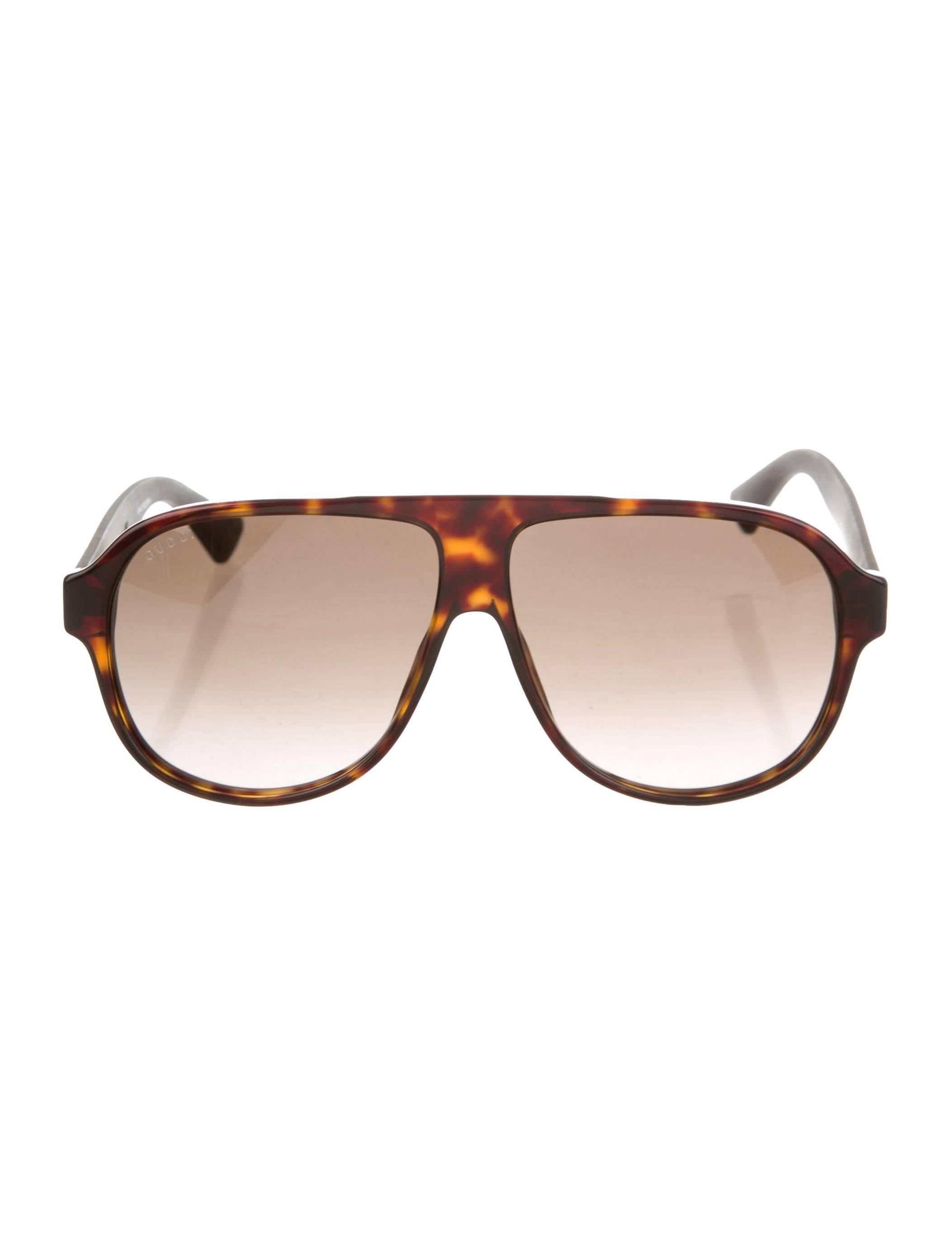 6c772f3da8 Men s brown acetate Gucci aviator sunglasses with round tinted lenses and  Web detail at temples. Includes case