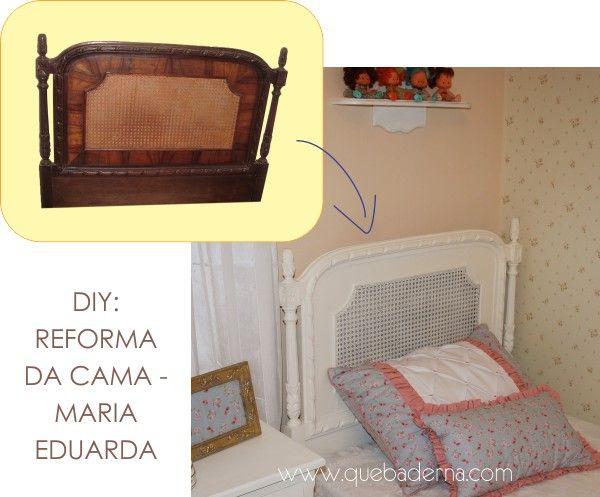 Reforma de cama antiga: reforma da cama de palhinha dos anos 50 do quarto da Maria Eduarda.