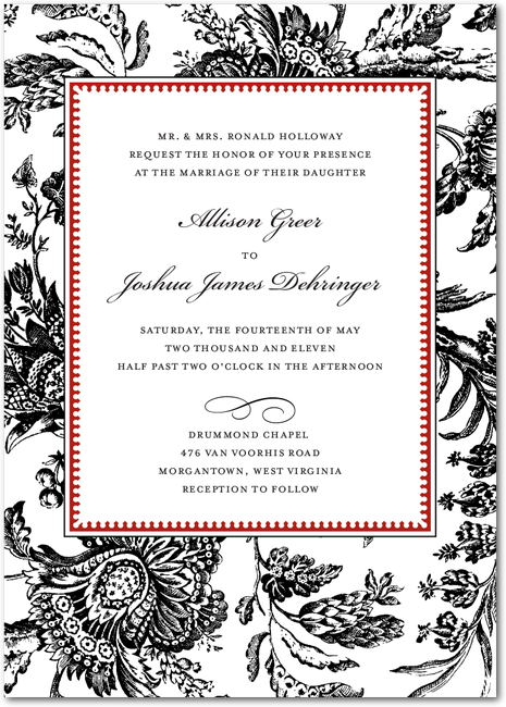 Toile Border Red A Fancy Red And Black Wedding Invitaion
