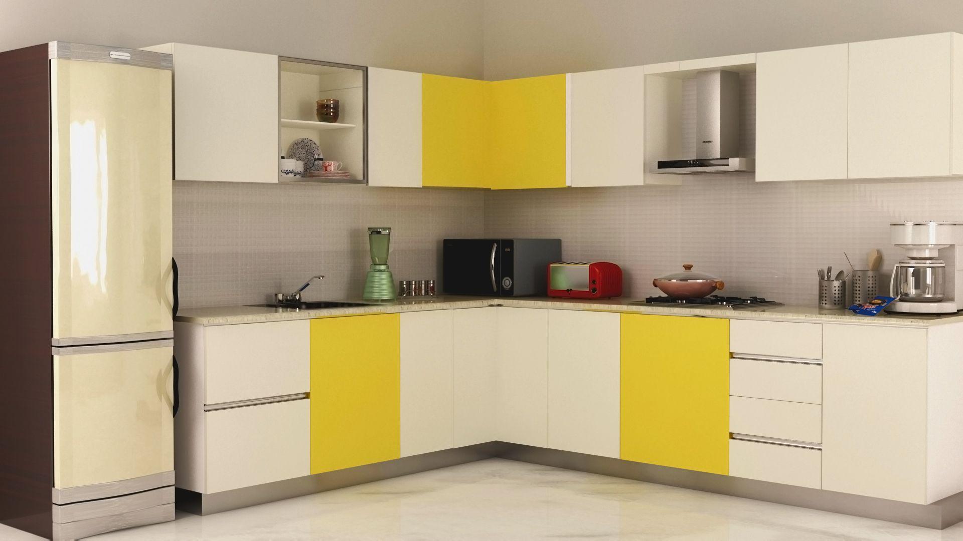 Kitchen l shaped modular kitchen white yellow cabinet island double door refrigerator green mixer single faucet