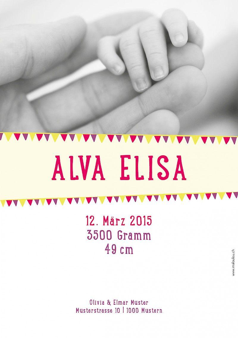 Geburtskarten A5 - Drapeau (Lila) #cardswithlove
