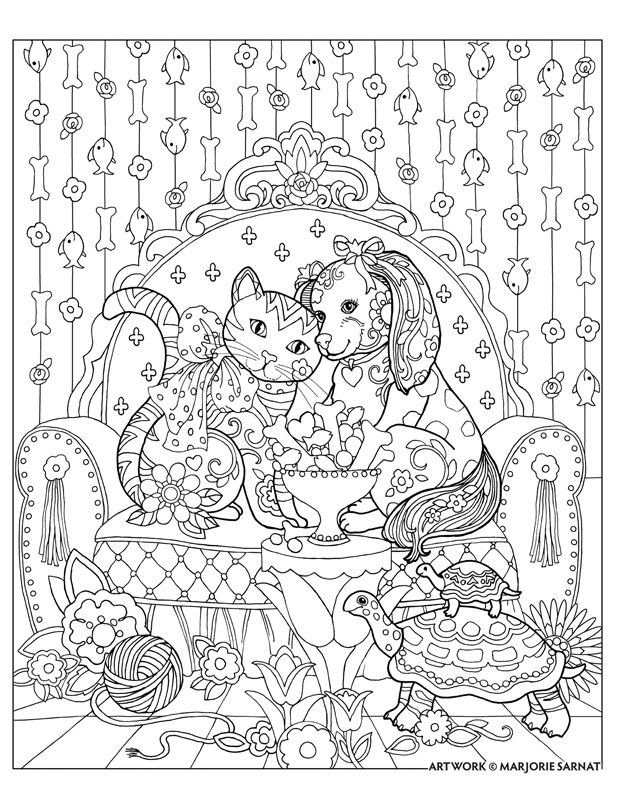 Marjorie Sarnat S Pampered Pets Cat And Dog And Treats Animal Coloring Pages Animal Coloring Books Dog Coloring Page