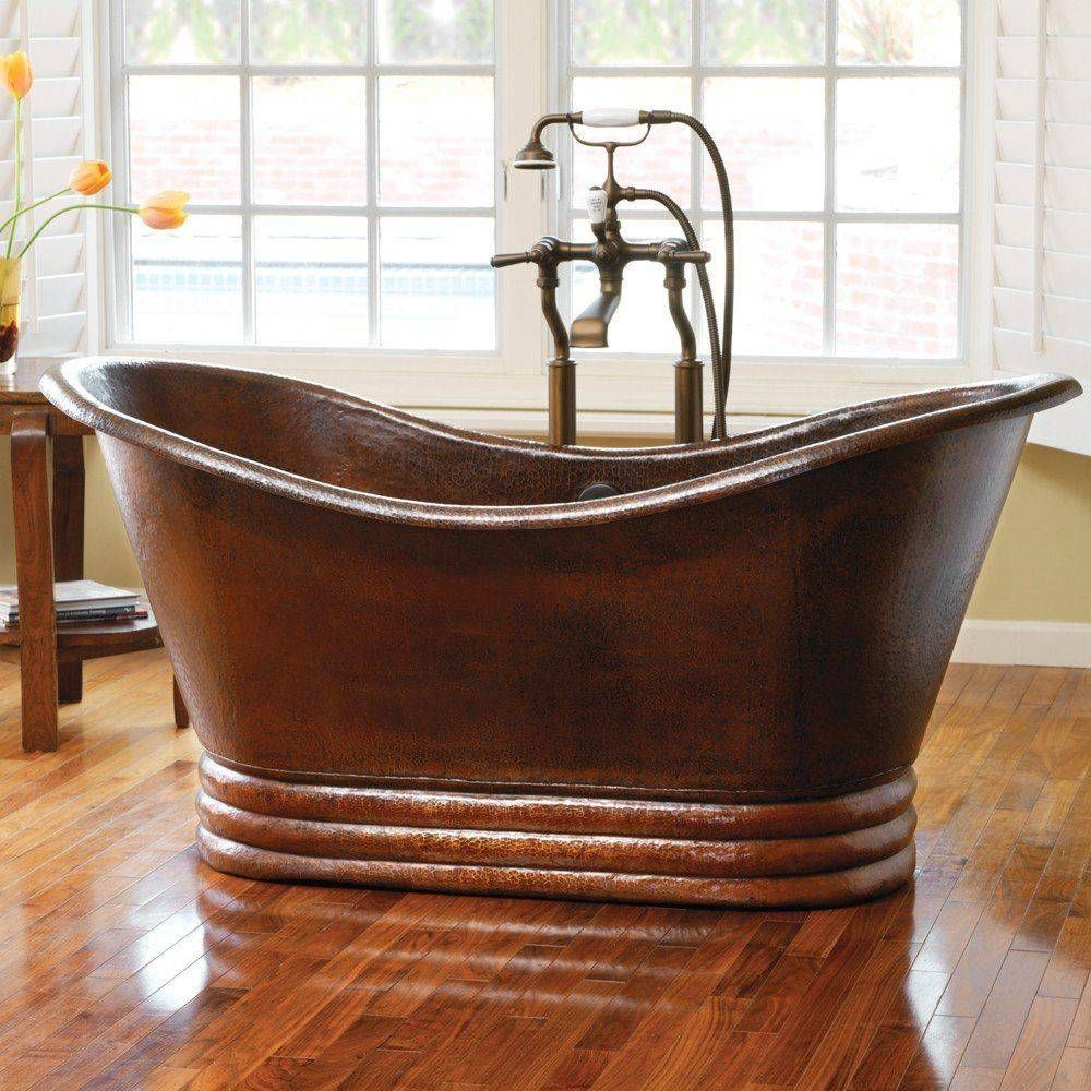 This copper tub is artisan crafted; forged of high-quality recycled ...