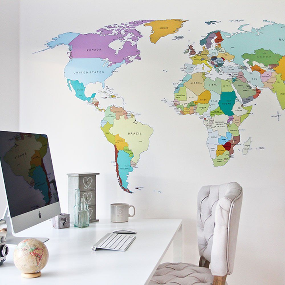 printed world map vinyl wall sticker decal that is perfect for walls at home and the office