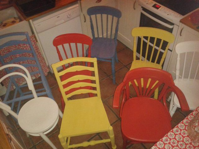 Cop a squat on one of these eye-catchers! Very cheery set of chairs now on #Preloved http://prelove.ly/1jfmG8h