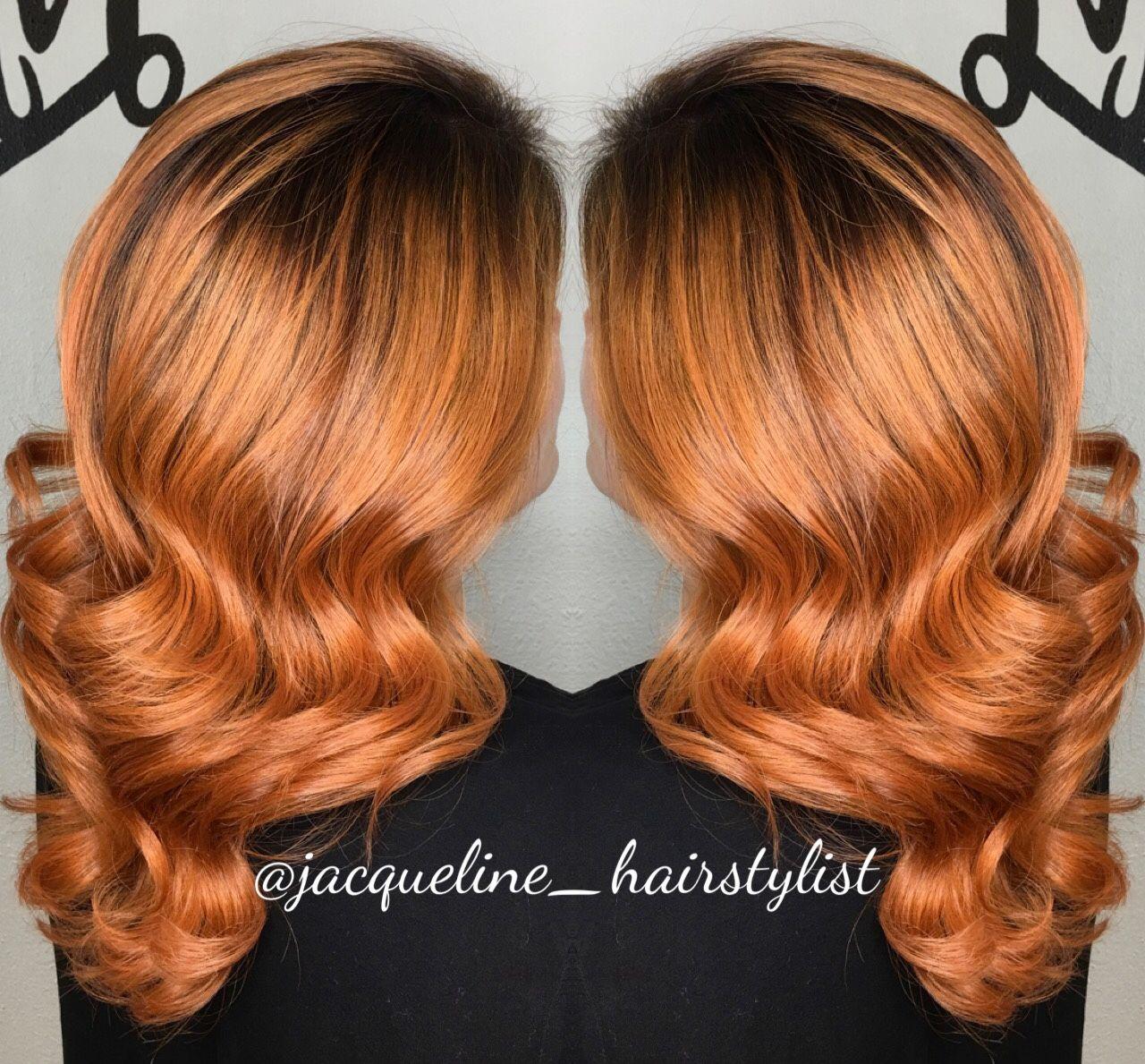 Burnt orange colormelt, haircut and style @jacqueline ...