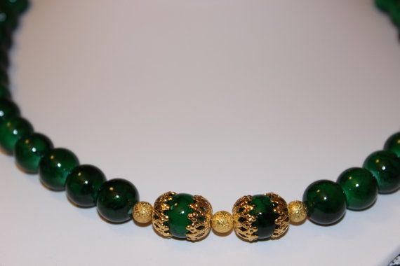 Green Glass Beaded Necklace with GoldPlated by AngeleDesignsLA, $36.00