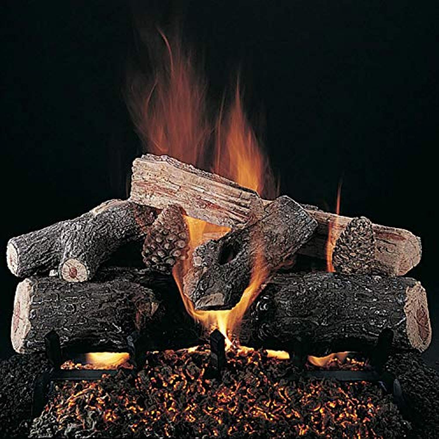 Rasmussen Evening Lone Star Log Set With 30 Inch Custom Embers Pan