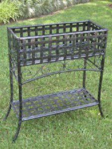International Caravan Mandalay Iron Outdoor Rectangular Plant Stand By 64 95 Color Black Antique Pewter Wrought Planter Box