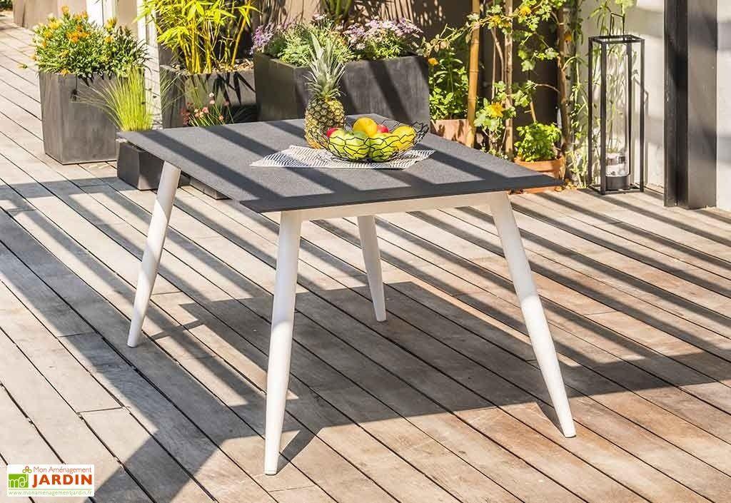 Table de Jardin Scandi Aluminium et Verre 160 x 90 cm ...
