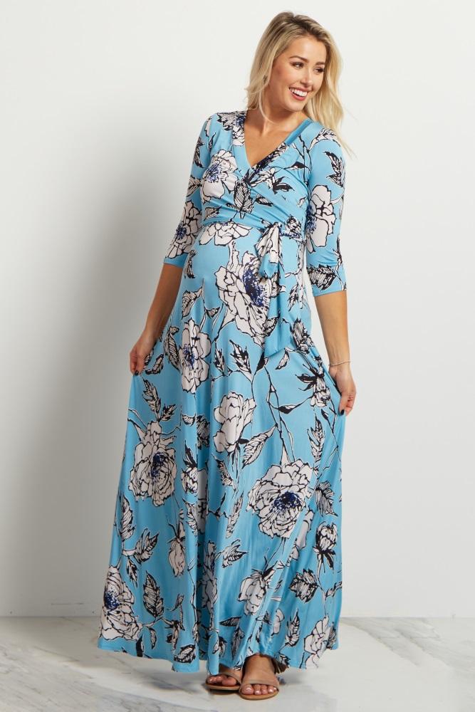 a668fb47ea1 Blue Floral Sash Tie Maternity Nursing Maxi Dress
