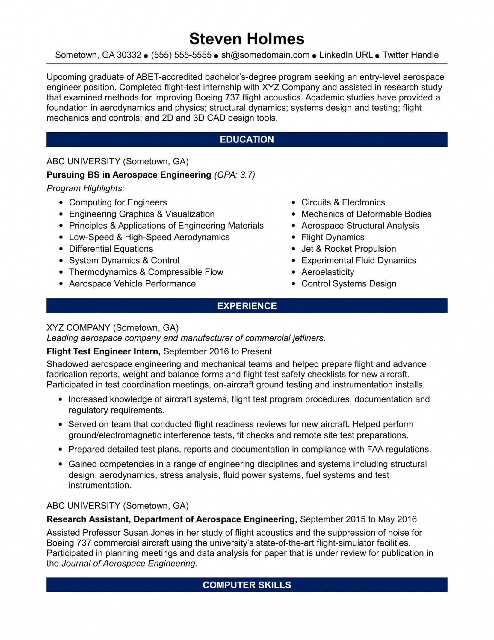 11 Aeronautical Engineer More Energizing Resume Format