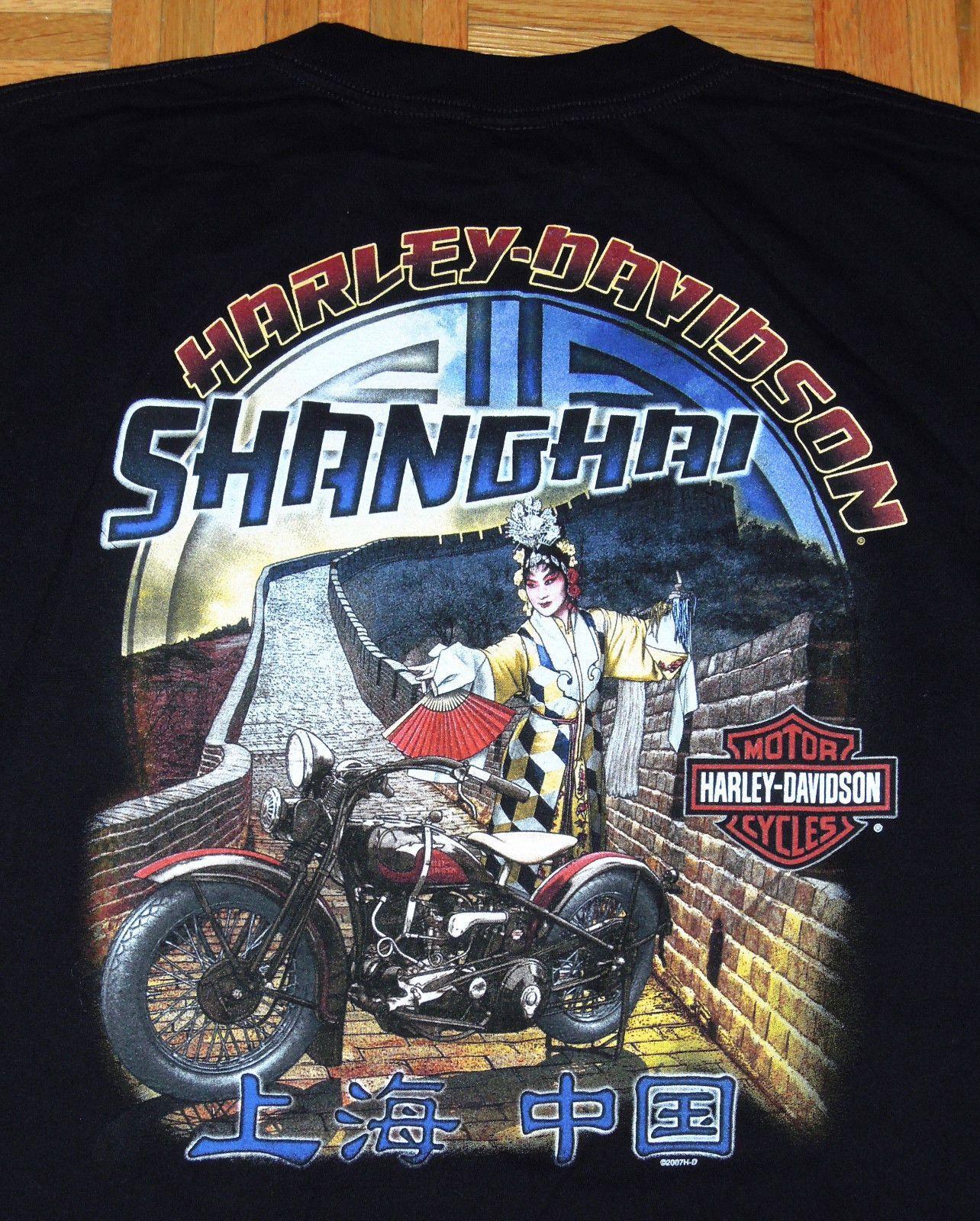Harley Davidson Black T Shirt Shanghai China Hog Motorcycles Biker Size 2xl Rare Eba Harley Davidson Pictures Harley Davidson Posters Harley Davidson Artwork