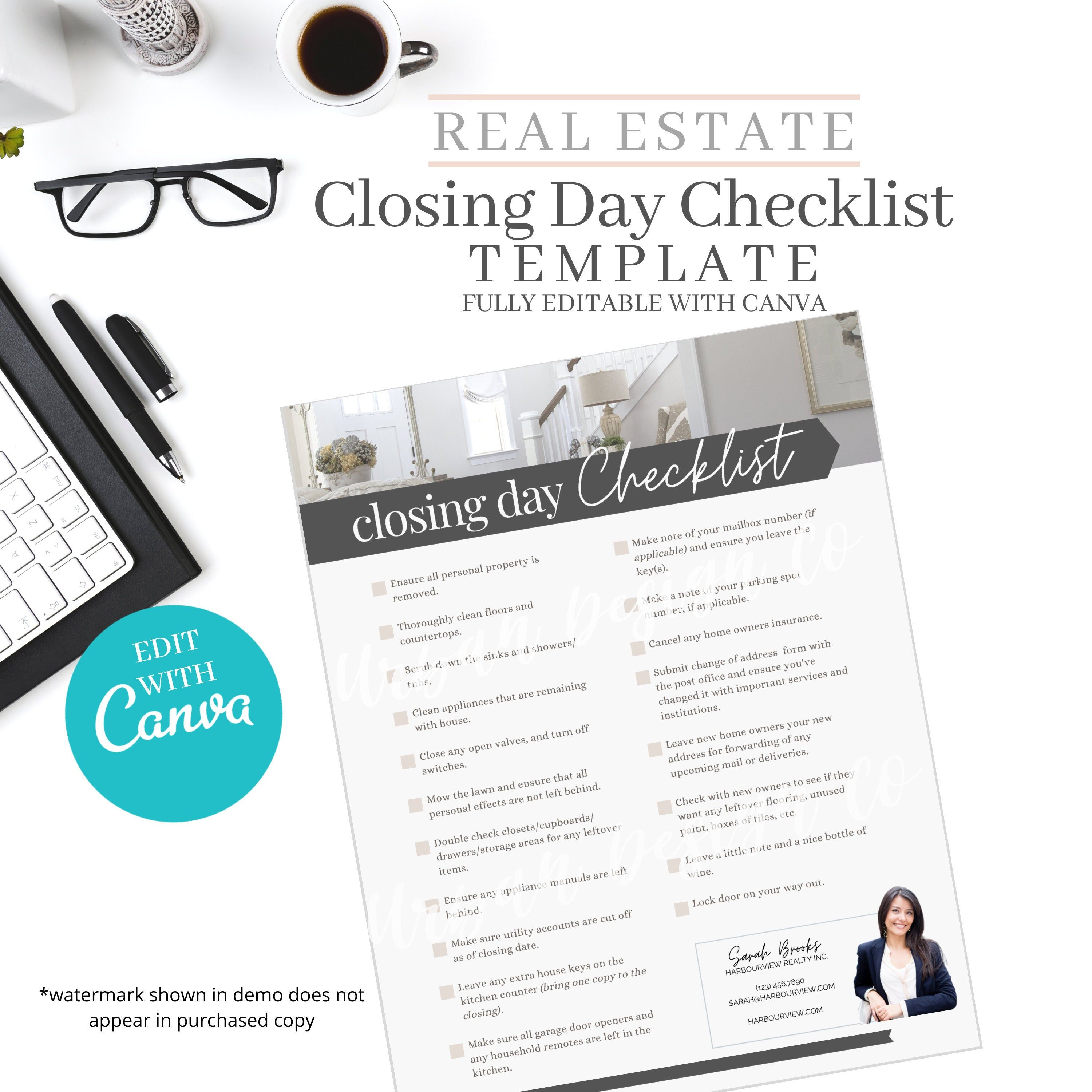 Closing day checklist real estate home buyer real estate