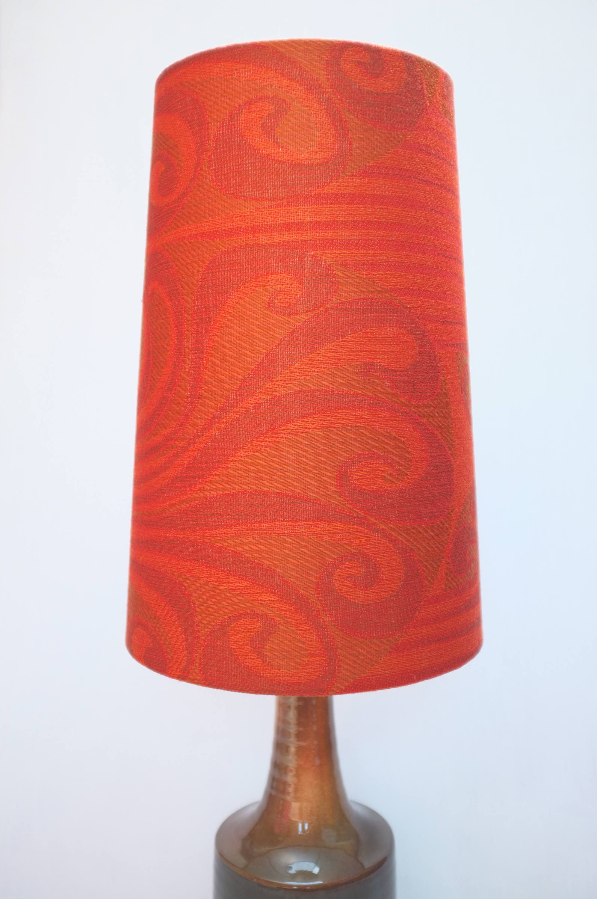 Retro Lampshade, Original Fabric, Extra Tall Conical, 60S70S Orange, Red