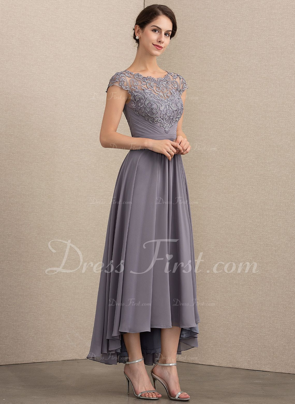 943df05a52e A-Line Princess Scoop Neck Asymmetrical Chiffon Lace Mother of the Bride  Dress (008164106) - Mother of the Bride Dresses - DressFirst