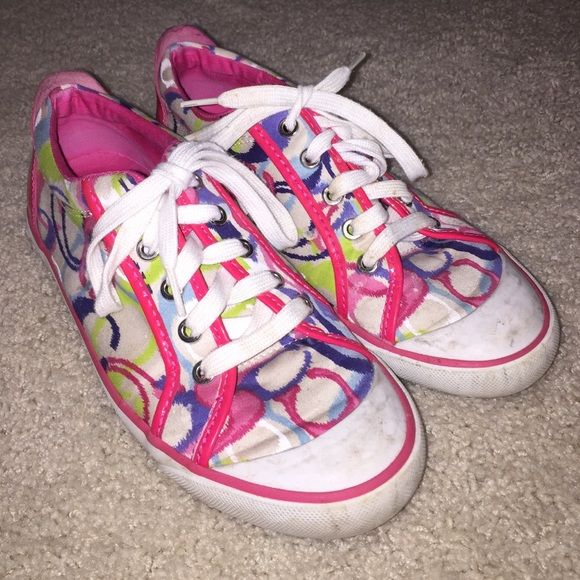 AUTHENTIC bright and colorful Coach Shoes Used but still in good condition!! Scuff marks are able to come off with some slight cleaning! Coach Shoes Sneakers