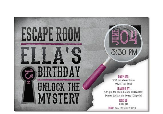 Escape Room Invitation Birthday Invite Challenge