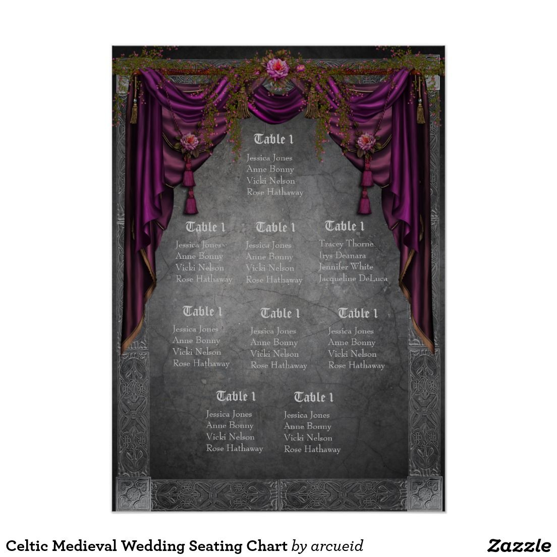 Celtic Medieval Wedding Seating Chart Zazzlecom Medieval