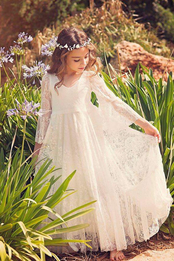 boho flower girl dress Party Dress Wedding White Lace Flower Girl Dress Junior Bridesmaid Dress first communion dress Bohemian Wedding