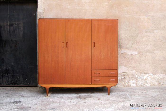 gentlemen designers mobilier vintage made in france armoire penderie chambre vintage teck. Black Bedroom Furniture Sets. Home Design Ideas