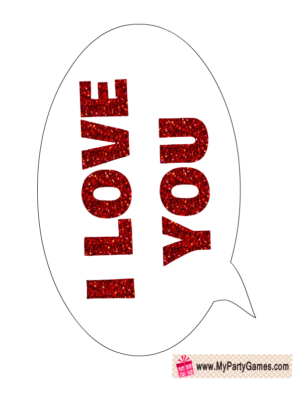 I Love You Speech Bubble Photo Booth Prop For Valentines Day