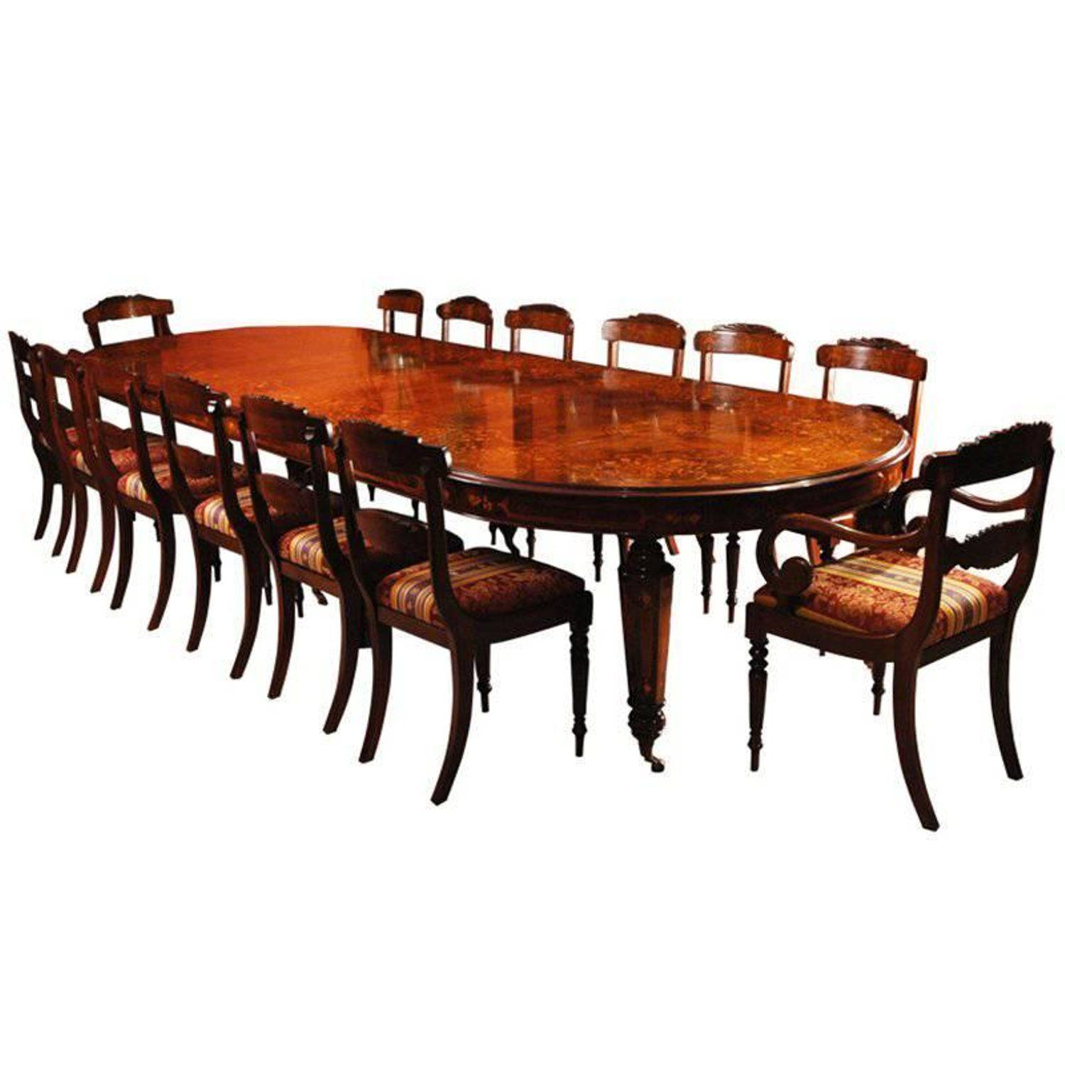 Bespoke Handmade Marquetry Burr Walnut Dining Table And 14 Chairs