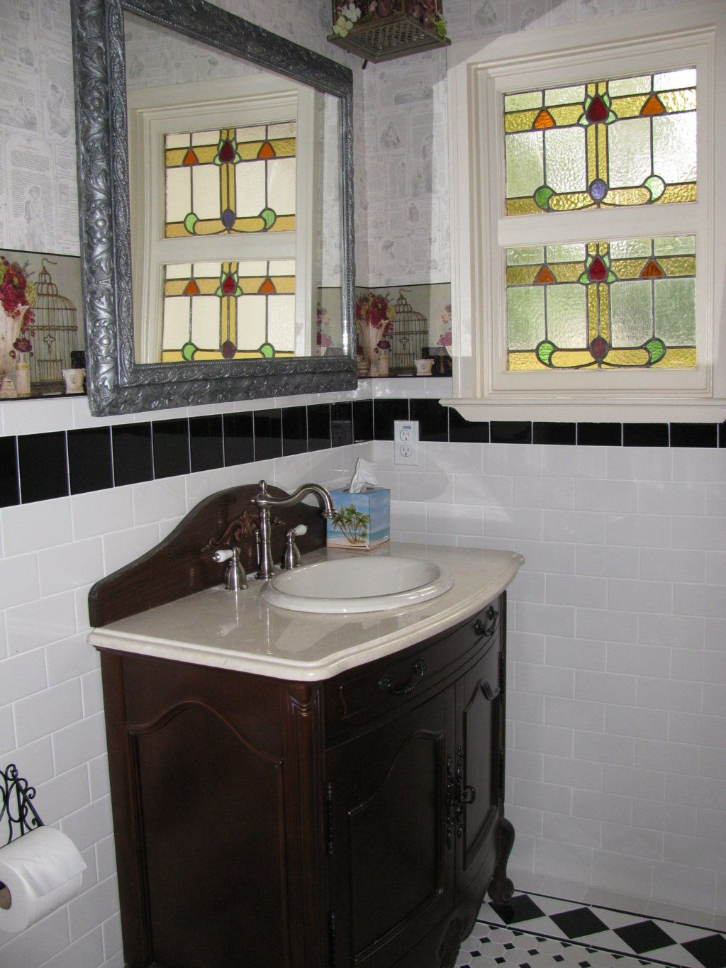 The Vintage Look In The Master Bath Includes A Floor Tile Pattern - 1920's floor tile patterns