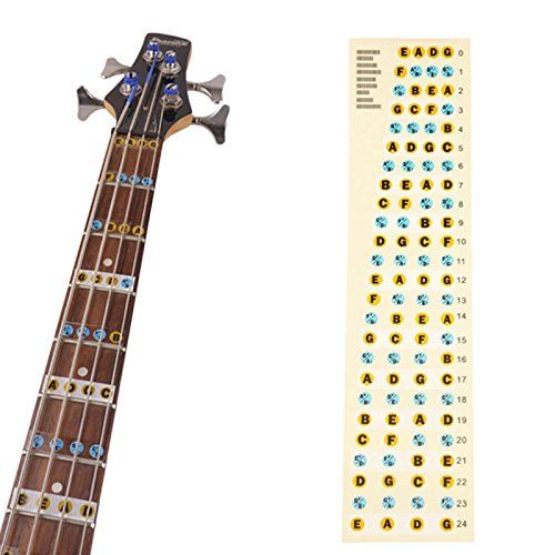 4 String Bass Fretboard Fret Notes Stickers Neck Key Maker Notes