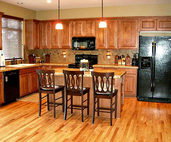Before and After Decorating   Kitchen cabinets with black ...