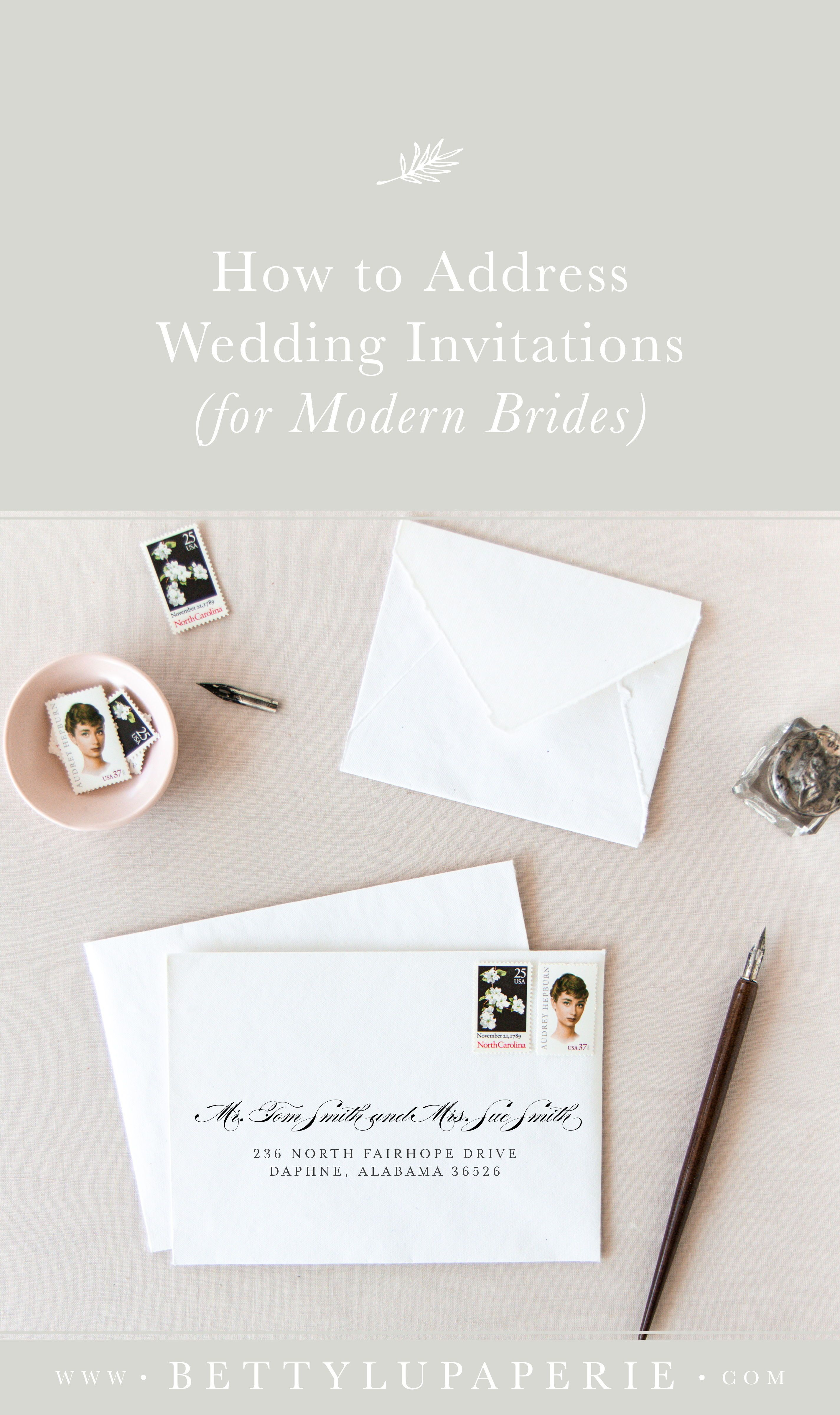 How To Address Wedding Invitations For Modern Brides Betty Lu Paperie Addressing Wedding Invitations Wedding Invitations Wedding Invitation Envelopes
