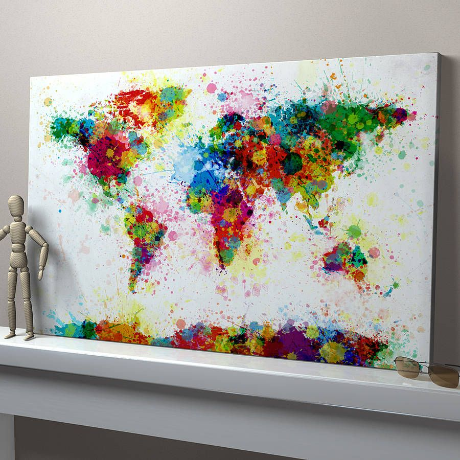 On my wall on the upcoming days home decor pinterest paint make a stencil of the world with some areas missing near the continents and splash paint away paint splashes world map art print idea for journal also gumiabroncs Images