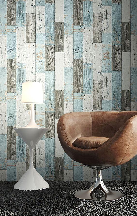 Holz Muster Tapete Blau Grau Edel