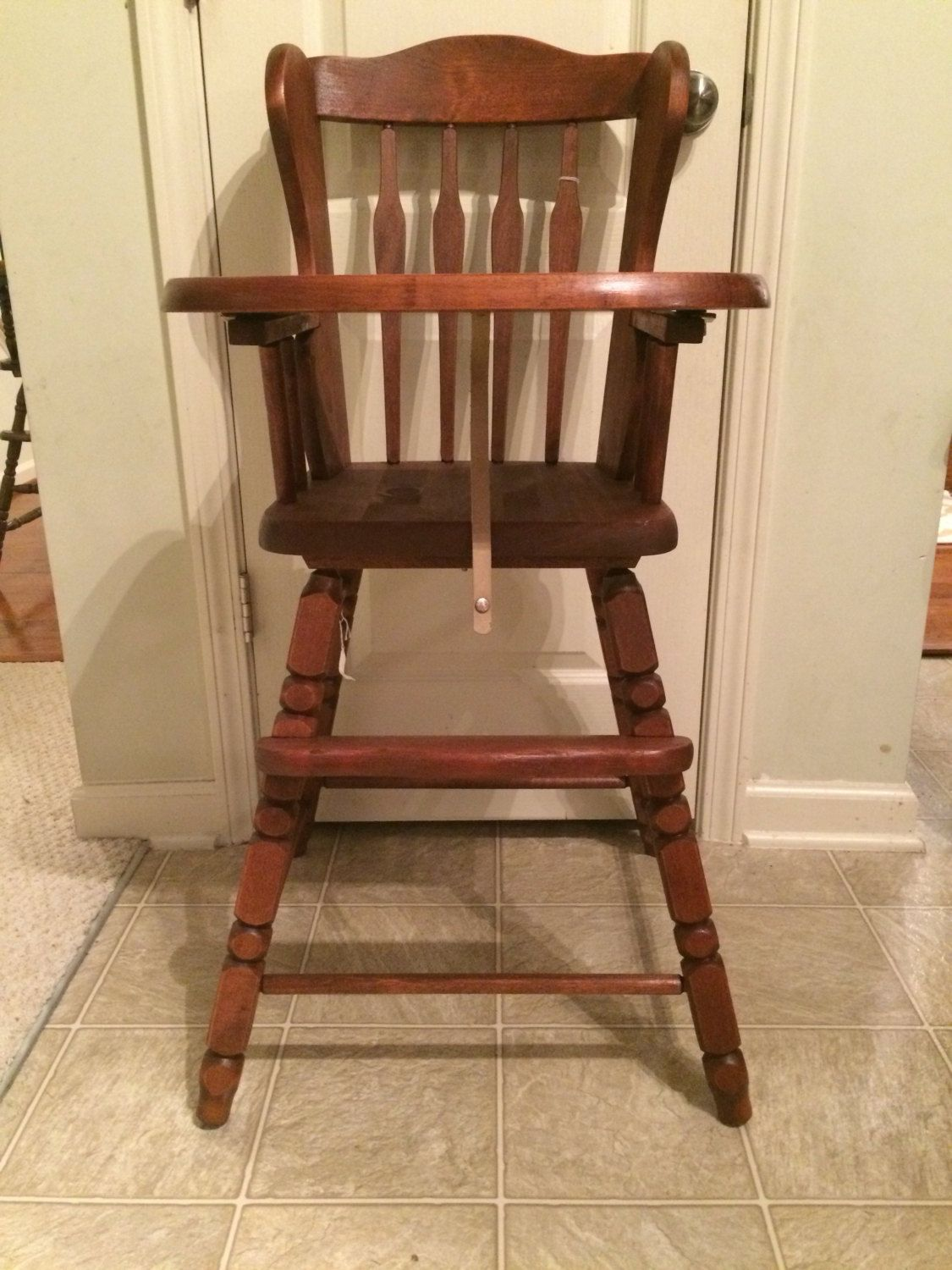 Vintage wooden high chair - Vintage Wooden High Chair Jenny Lind Antique High Chair Vintage High Chair