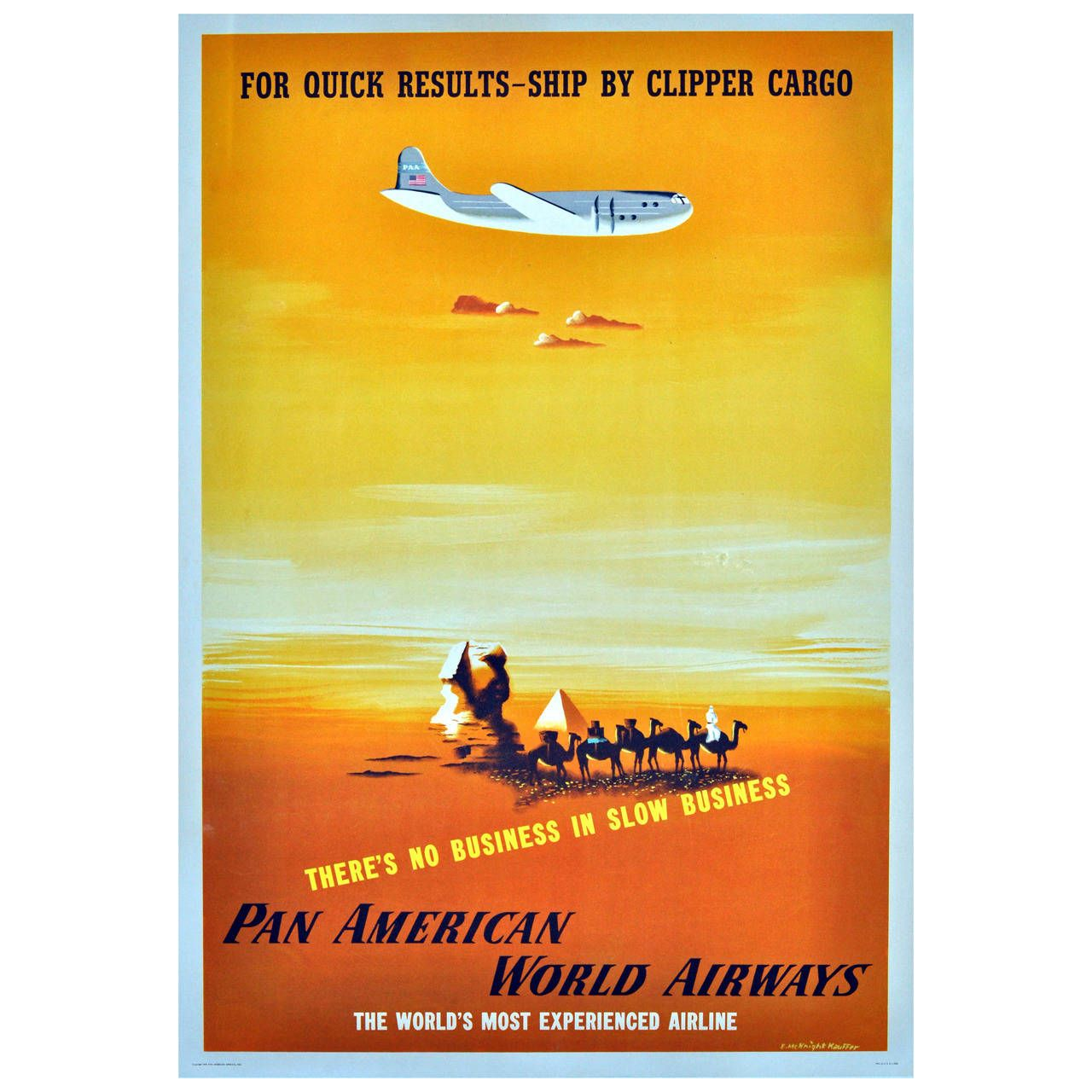 Pan American World Airways Poster by E. McKnight Kauffer Ship by ...