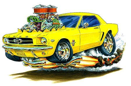 Muscle Monster Car Cartoon Art Maddmax Design 1964 Ford Mustang
