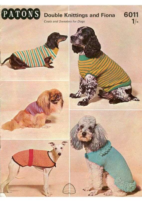 vintage dog jumper/sweater pattern PDF dog coat, sausage dog, poodle ...