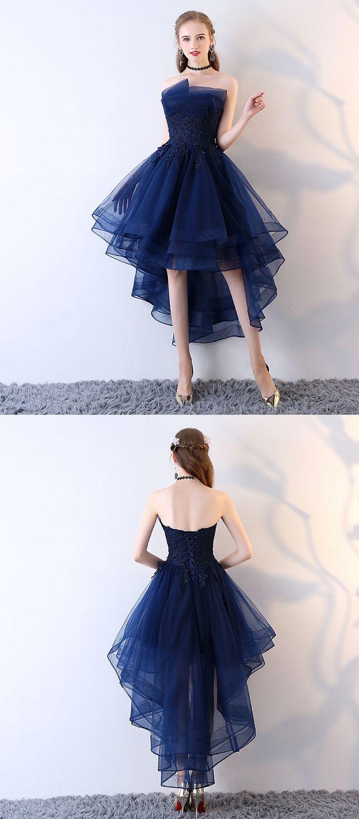 Dark blue tulle short prom dress high low evening dress hey