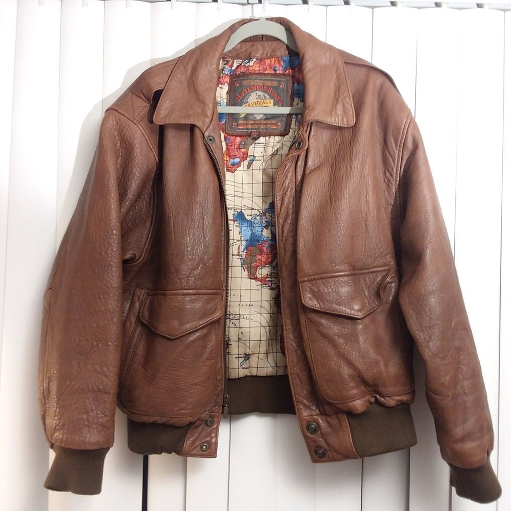 16fc2682f Vintage Brown Leather Adventure Bound Bomber Jacket Lined Map Coat ...