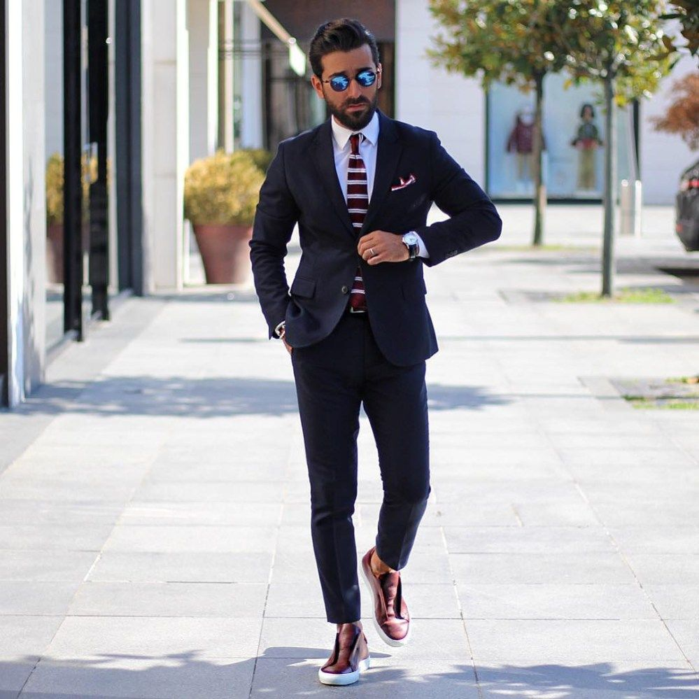 10 Ways To Team Up Suits With Sneakers Suits And Sneakers Dapper Mens Fashion Sneakers Outfit Men [ 999 x 999 Pixel ]